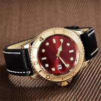 Wholesale high quality leather bracelets - high quality luxury brands aaa watches gold face red black dial automatic watch women designer bracelet belts leather strap quartz clock gmt
