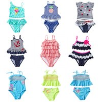 Wholesale kids swimwear - UPF Kids Tankini Swimsuits Designer Swimwear Sequins Pineapple Anchor D Flower Navy Striped Dots Embroidery Applique Clothes M T