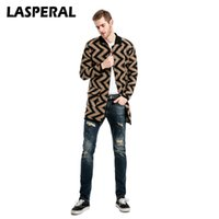 Wholesale Boys Trench - LASPERAL Men Trench Coats Special Raised Grain Striped Pocket Decorated Boys Coats Casual Male Knitted Long Windbreaker