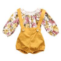 bebek pantolon pantolon toptan satış-Yeni Varış Bahar Sonbahar Moda Bebek Kız Çiçek Baskı Romper + Askı Pantolon 2 adet Setleri Çocuk Giyim