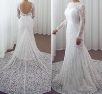 modernos vestidos de noiva elegantes venda por atacado-Modern Elegante Branco Completo Vestidos De Casamento Do Laço 2019 Alta Neck Sheer Mangas Compridas Sereia Do Casamento Vestidos De Noiva Sexy Backless Vestido De Praia