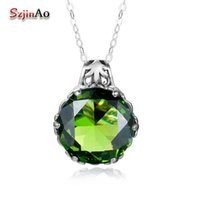 перидот камни оптовых-Szjinao Fashion 100% 925 Sterling Silver Green Peridot Stone Pendant Necklaces for Women Genuine Silver Jewelry Gift Wholesale