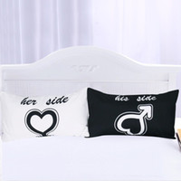 Wholesale pillow case pair - His And Her Side Pillow Case Couple home bedding Pillowcases Back And White Pillow Cover For Gift Bedroom Romantic Love Pair