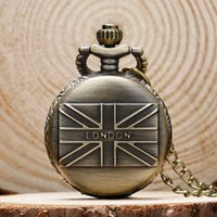 Wholesale london sweater - Hot Sales Steampunk Antique Style London UK Flag Mini Small Pocket Watch with Sweater Chain 80cm Necklace Relojo De Bolsillo