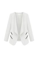 ingrosso nuovo cardigan di base-2017 NEW Vintage Women Basic Slim Suit Blazer pieghevole Slim Fit Cardigan Outwear bianco