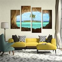 pintura de óleo do oceano venda por atacado-Pintura a pulverizador Azure Ocean Island Palmeira Coqueiro Seascape Início Decoração Da Parede Pinturas A Óleo Nova Chegada 40 4jm2 BB