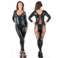 Wholesale clubwear teddy lingerie for sale - Sexy Women Erotic Latex Catsuit With Side Bandages Faux Leather Jumpsuit Costume Pole Dance Bodysuit Sexiest Lingerie Cosplay Dance Clubwear