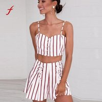 полосатые шорты верхний набор оптовых-Feitong New 2018 Beach two piece set Clothes Sexy Women Striped Print Shirt Sleeveless Crop Top with Shorts Two-Piece Outfit /PY
