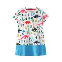 çocuklar için kısa yazlık elbiseler toptan satış-Bebek kız dinozor baskı elbise çocuk şort kollu prenses elbiseler 2018 yaz Butik çocuk Giyim 4 renkler C3904
