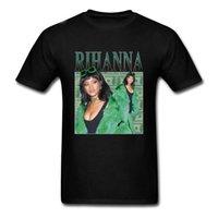 rihanna kleidung großhandel-Marke Kleidung Sommer 2018 Rihanna T-Shirt Schwarz Neue Männer T-Shirt T-Shirt Größe S bis 3XL T-Shirt Casual Kurzarm für Männer Kleidung Sommer