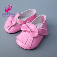 ingrosso scarpe da bambola per il bambino-American Girl Doll Shoes Fits 18 pollici Scarpe Pu Leather in pelle rosa per 45CM Baby nato