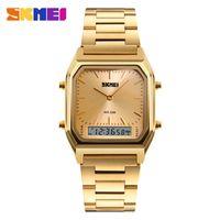 часы двойные цифровые часы оптовых-SKMEI мужская мода повседневная Кварцевые наручные часы цифровой двойной время спортивные часы хронограф водонепроницаемый Relogio Masculino 1220