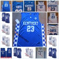 Wholesale Demarcus Cousins Jersey - NCAA Kentucky Wildcats Anthony Davis College Basketball Jersey Devin Booker DeMarcus Cousins Towns John Wall Kentucky Wildcats Jersey S-3XL