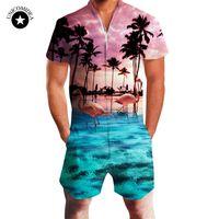 Wholesale jumpsuits shirts bodysuit - Fashion Flamingos Mens Jumpsuit Summer Casual Rompers Short Sleeve Male One-piece Mens Suits Shorts&shirt Slim Coverall Bodysuit