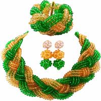 yeşil kostüm takı kolyeleri toptan satış-Güzel Yeşil Şampanya Altın Kristal Boncuklu Kolye Kostüm Kadınlar için Nijeryalı Düğün Afrika Boncuk Takı Seti 12BZ08