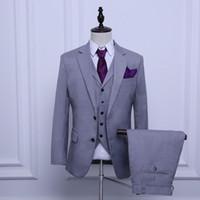 cheap lighting for weddings NZ - New Design Light Grey Groom Tuxedos Cheap Custom Made Groomsmen Suit Best Man Business Suit Wedding Suits For Men (Jacket+Pants+Vest)