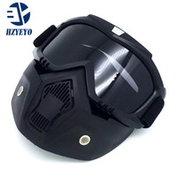 Wholesale face mask filters - New Modular Mask Detachable Goggles And Mouth Filter Perfect for Open Face Motorcycle Half Helmet or Vintage Helmets