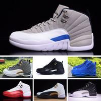 siyah beyaz yün toptan satış-2019 cheap12 wool XII basketbol ayakkabıları Yüksek Kesim Yüksek Kalite Sneakers J12 Siyah Beyaz Spor Koşu Ayakkabıları Ücretsiz Kargo