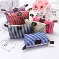 Wholesale travel kits for sale - 2018 High Quality Lady stripe MakeUp Pouch Cosmetic Make Up Bag Clutch Hanging Toiletries Travel Kit Jewelry Organizer Casual Purse