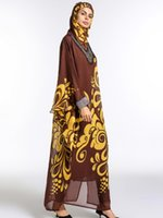 dubai islami elbise toptan satış-Şifon Dubai Abaya Müslüman Kadınlar Uzun Kollu Uzun Kollu Robe ile Tesettür Vintage Maxi Baskı Kimono İslami Giyim