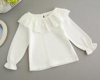 camisa do colar do mandarino dos meninos do bebê venda por atacado-0-2 anos Bebê Assentamento Camisa Outono Inverno Crianças Roupas de Algodão de Manga Comprida Básica T-shirt Meninas Rendas Tops Outfit Para Frock
