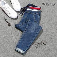 ingrosso jeans plaid patchwork-2018 primavera Jeans per le donne di grandi dimensioni 5XL piedi Harlan jeans taille haute femme straniero nove pantaloni spedizione gratuita 013 #