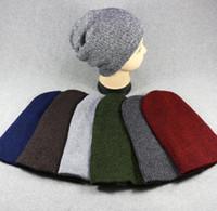 Wholesale warm skull caps for men resale online - Warm Winter Beanies Hat Women Men Baggy beanies cap Fashion casual Solid Color Caps for men women couple knit hat KKA6296