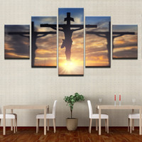 Discount cross oil paintings - Canvas Paintings Wall Art Framework 5 Pieces Jesus Christ Cross Pictures HD Prints God'S Divine Light Posters Living Room Decor
