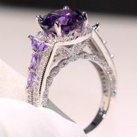 Wholesale silver amethyst wedding band for sale - Group buy Victoria Wieck Luxury Jewelry Sterling Silver Round Cut Amethyst CZ Diamond Gemstones New Women Wedding Corwn Band Ring For Lover Gift