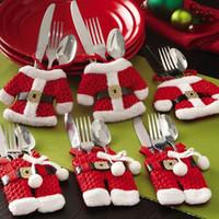 cocina tenedor cuchillo decoraciones al por mayor-6 Unids Año Nuevo Chirstmas Vajilla Titular Cuchillo Tenedor Cubiertos Conjunto Falda Pantalones 2018 Navidad Natal Navidad decoraciones de Navidad para el hogar y la cocina