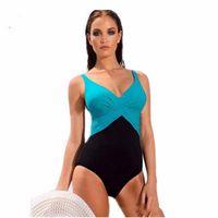 Wholesale solid white tankini swimwear online - 2018 One Piece Swimsuit Brazilian Bikini Set Sexy Tankini Set Beachwear Plus Size Swimwear Women Black Bathing Suit XXXXL BJ239