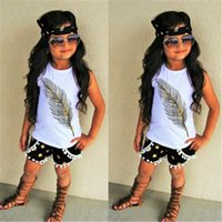 Wholesale new arrival baby outfits resale online - 3pcs New Arrival Cute Baby Girl Clothes Set Summer Toddler Kids Sleeveless Tops shorts Headband Children Outfit Girls Clothing t