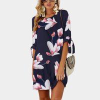 пляжные платья оптовых-Летняя мода женщины Dress цветочные печатных Dress с коротким рукавом повседневная свободные пляж Dress Mini vestido плюс размер S-5XL