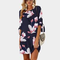 linha de impressão floral vestido de manga curta venda por atacado-Moda verão Mulheres Vestido Floral Impresso Vestido de Manga Curta Casual Praia Solta Vestido Mini vestido Plus Size S-5XL