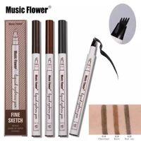 Wholesale waterproof eyebrow powder resale online - Music Flower Liquid Eyebrow Pen Eyebrow pencil powder Colors Eyebrow Enhancer High quality Brand Makeup Waterproof In stock