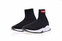 calcetines zapatos al por mayor-Calcetín de lujo más nuevo Zapatillas de deporte Paris Speed Trainer Zapatillas de deporte de moda Calcetines Race Runners Zapatos negros Hombres Mujeres Calzado deportivo 36-45