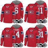 hoodie carey toptan satış-Erkekler 100. Montreal Canadiens Formalar 11 Brendan Gallagher 6 Shea Weber 31 Carey Fiyat 14 Tomas Plekanec Hoodies Formalar Tişörtü