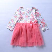 Wholesale gowns style clothes online - Baby girls unicorn dress INS Children Floral print lace princess dresses new Boutique Kids Clothing C3712