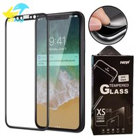 anteojos templados al por mayor-Para iPhone 6 7 8 plus X XR XS MAX Soft Edge Full cover Protector de pantalla HD Clear Tempered Glass Negro blanco con paquete