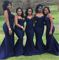 Wholesale spaghetti strap low back wedding dresses for sale - Group buy African Spaghetti Straps Mermaid Bridesmaid Dresses Dark Navy Sheath Bridesmaid Gowns Low Back Wedding Guest Dresses Formal Party Prom Dress