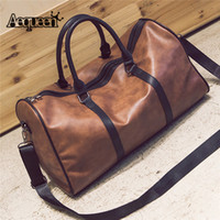женские дорожные сумки оптовых-AEQUEEN 2018  Traveling Tote PU Leather Duffle Handbag Men Women Large Capacity Luggage Bag Big Retro Shoulder Bag Female
