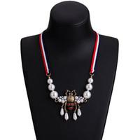 trendige halsketten großhandel-Neue Mode Trendy Frauen Halskette Gold Überzogene CZ Perle Biene Halskette für Mädchen Frauen Schönes Geschenk