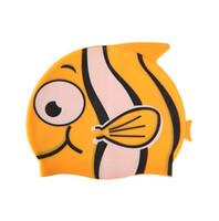 boné de natação de natação de silicone para crianças venda por atacado-Bonito dos desenhos animados crianças fish cap silicone bebê nadar tampas de proteção da orelha de natação chapéu de silicone elástico à prova d 'água bonés de esporte de água