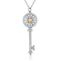 ingrosso collana di pendente del diamante giallo-S925 chiavi in argento sterling chiavi chiave pendente collana con diamanti gialli bianchi 100% 925 collane in argento migliore regalo di San Valentino per le donne