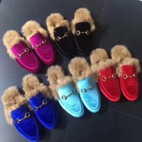 Wholesale navy rabbit fur for sale - Group buy Fur slippers luxury laofers women slides with rabbit fur real leather shoes fur shoes