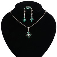 Wholesale bridal jewelery resale online - Multicolor Green Crystal Costume Bridal Jewelry Sets Women Pendant Necklace Rings Set Earrings With Stones Jewelery New