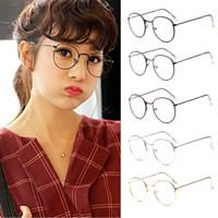copos harajuku venda por atacado-Moda Vintage Mulheres Óculos de Olho quadros Simples Espelho Lente Clara Harajuku grande Metal oval óculos de armação Gafas Feminino Masculino