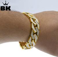 Wholesale wide gold plated mens bracelet - New Style Sand Blast Bracelet Cuban Chain Link Hip Hop Gold Tone Heavy 15mm Wide Mens 8.5inch Bracelet