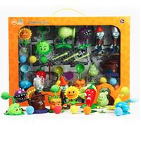 conjuntos de juguetes de plantas vs zombies al por mayor-Plants vs Zombies Juguetes Figuras de Acción de disparo muñecas 12pzas Juego en caja de regalo