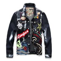ingrosso giacche da jeans design-Giacca in denim uomo solido casual slim fit bomber autunno inverno jean giacche per uomo graffiti graffiti hip hop giacche da uomo plus size